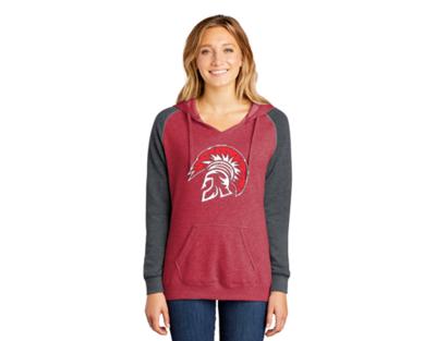 DT296 District ® Women's Lightweight Fleece Raglan Hoodie  - Heather red & heather charcoal.