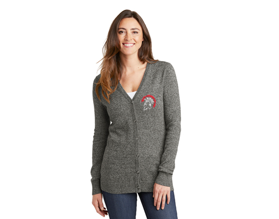 LSW415 Port Authority ® Ladies Marled Cardigan Sweater - Warm Grey