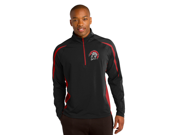 ST851 Sport-Tek® Sport-Wick® Stretch 1/2-Zip Colorblock Pullover - Black/Red
