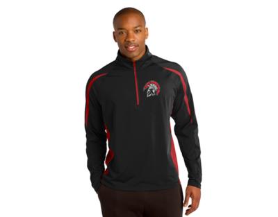 ST851 Sport-Tek® Sport-Wick® Stretch 1/2-Zip Colorblock Pullover - Black/Red