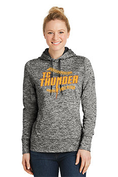 LADIES Sport-Tek® PosiCharge®Electric Heather Fleece Hooded Pullover