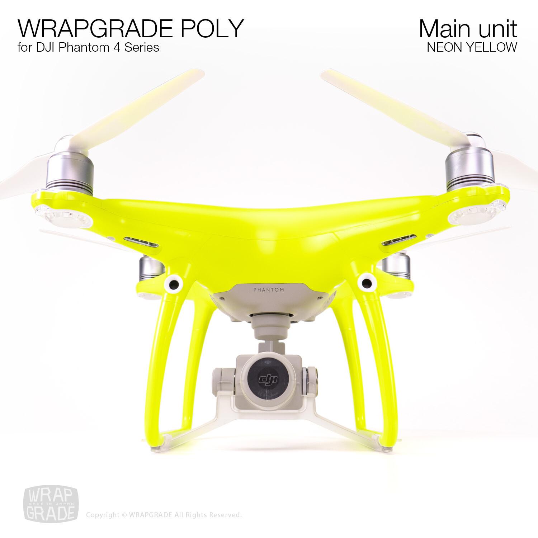 Wrapgrade Poly Skin for DJI Phantom 4 | Main unit (NEON YELLOW)