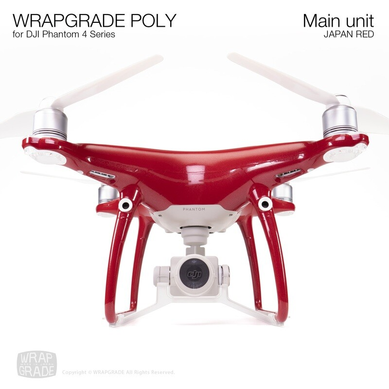 Wrapgrade Poly Skin for DJI Phantom 4 | Main unit (JAPAN RED)