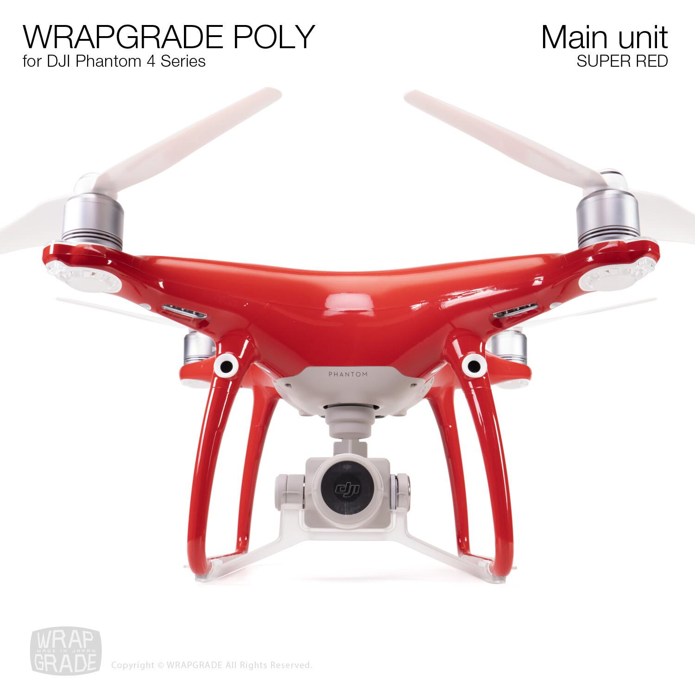 Wrapgrade Poly Skin for DJI Phantom 4   Main unit (SUPER RED)