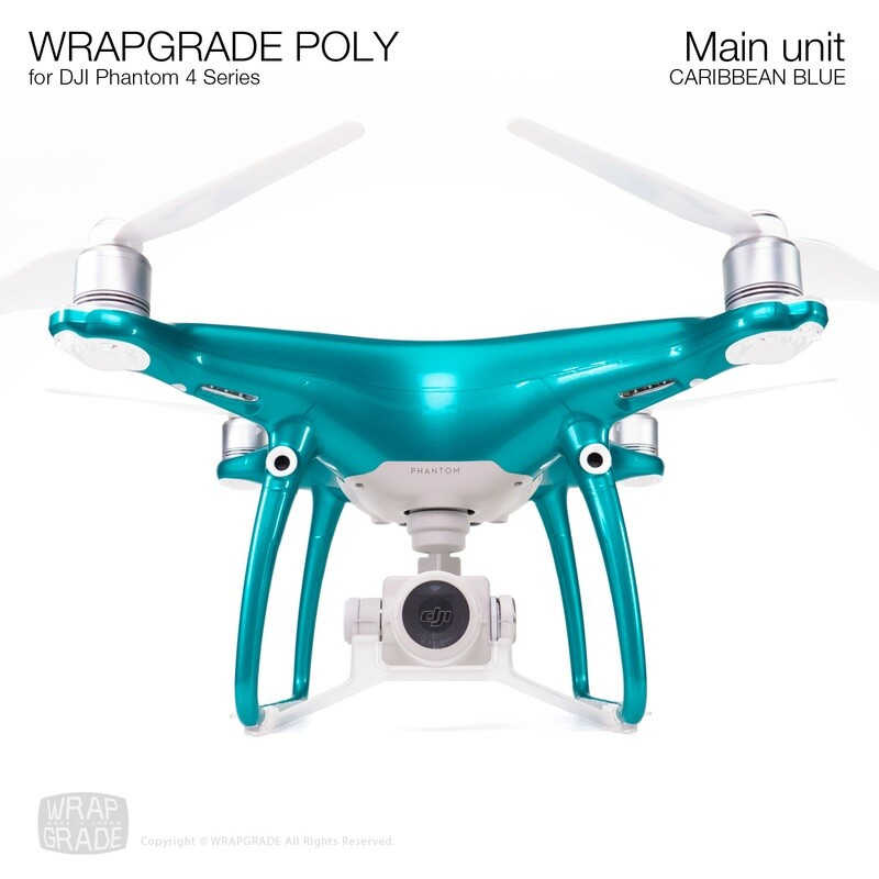 Wrapgrade Poly Skin for DJI Phantom 4 | Main unit (CARIBBEAN BLUE)
