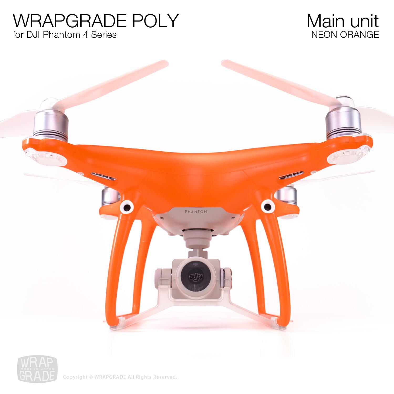 Wrapgrade Poly Skin for DJI Phantom 4 | Main unit (NEON ORANGE)