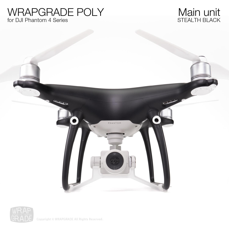 Wrapgrade Poly Skin for DJI Phantom 4 | Main unit (STEALTH BLACK)