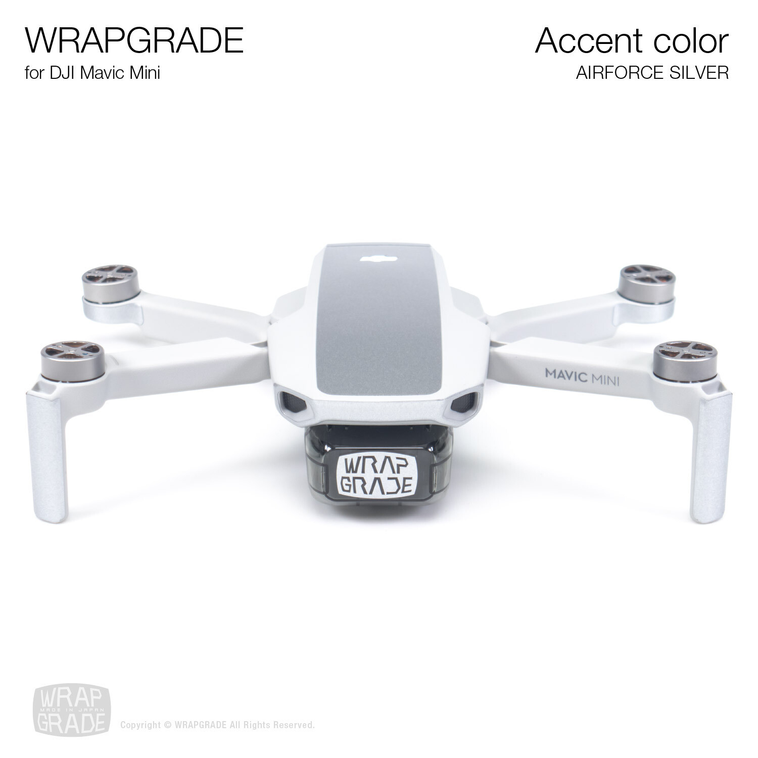 Wrapgrade Poly Skin for Mavic Mini | Accent color (AIRFORCE SILVER)