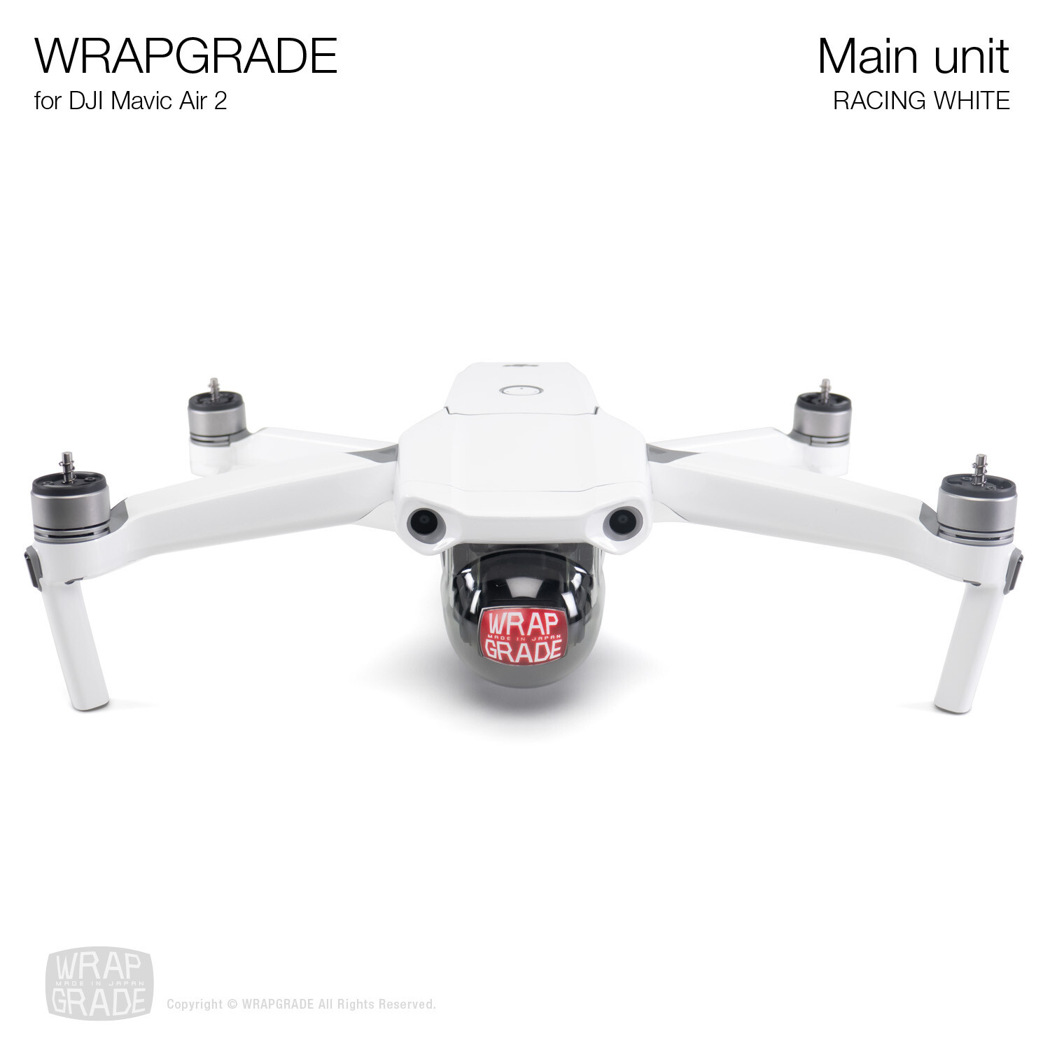 Wrapgrade for DJI Mavic Air 2 | Main Unit​ (RACING WHITE​)