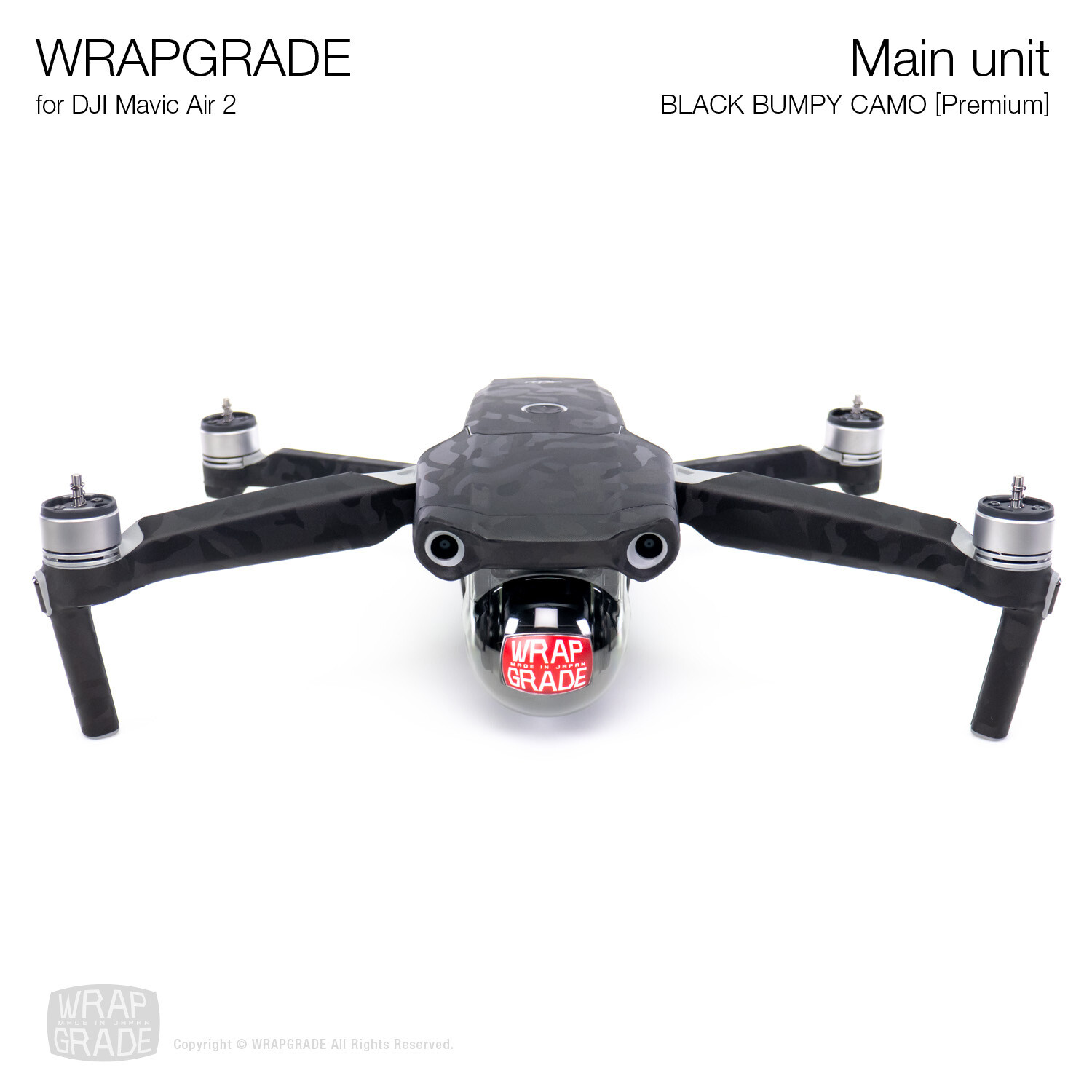 Wrapgrade for DJI Mavic Air 2 | Main Unit​ (BLACK BUMPY CAMO​)