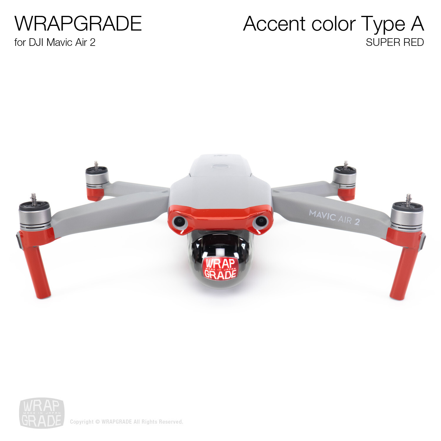 Wrapgrade for DJI Mavic Air 2 | Accent Color A (SUPER RED)
