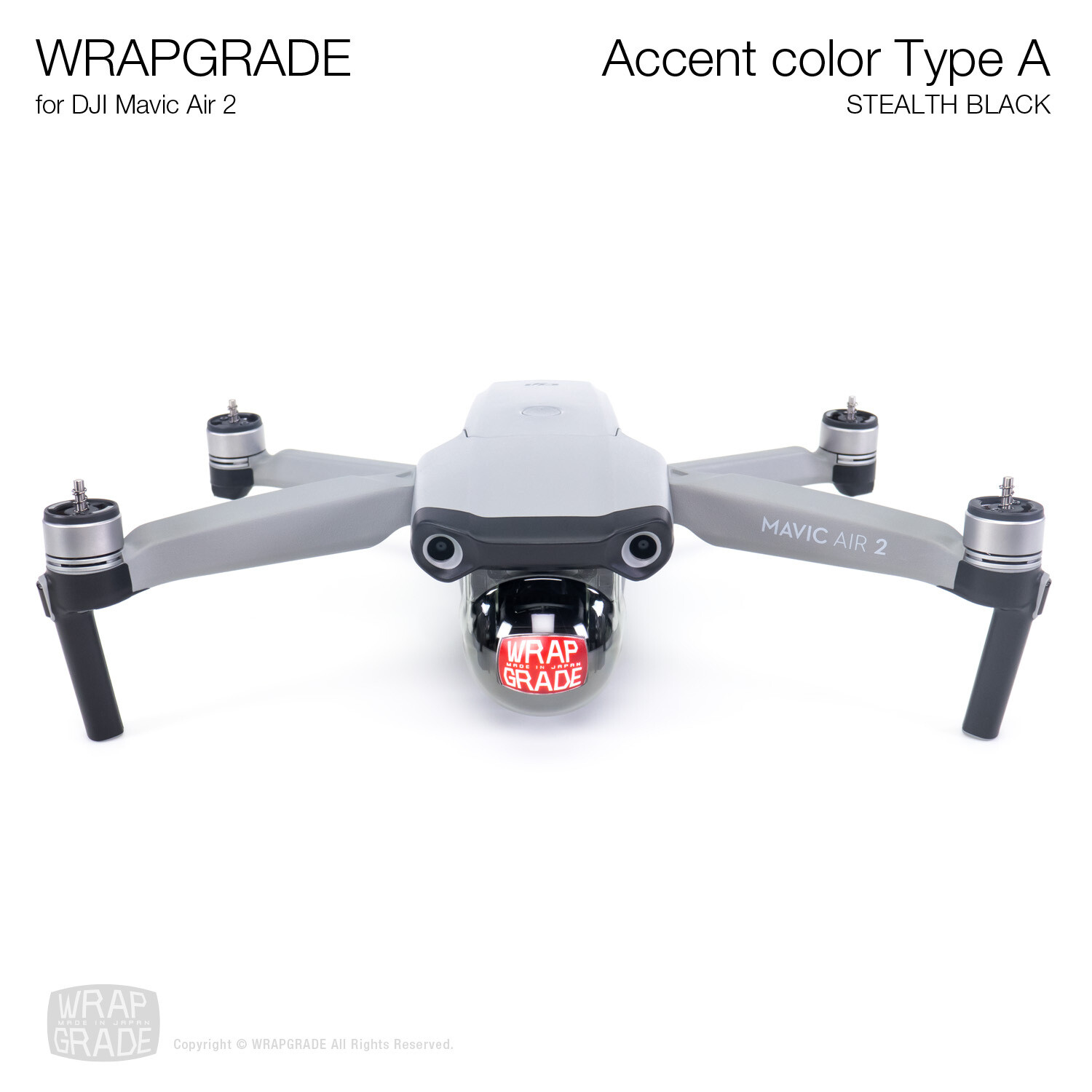 Wrapgrade for DJI Mavic Air 2 | Accent Color A (STEALTH BLACK)