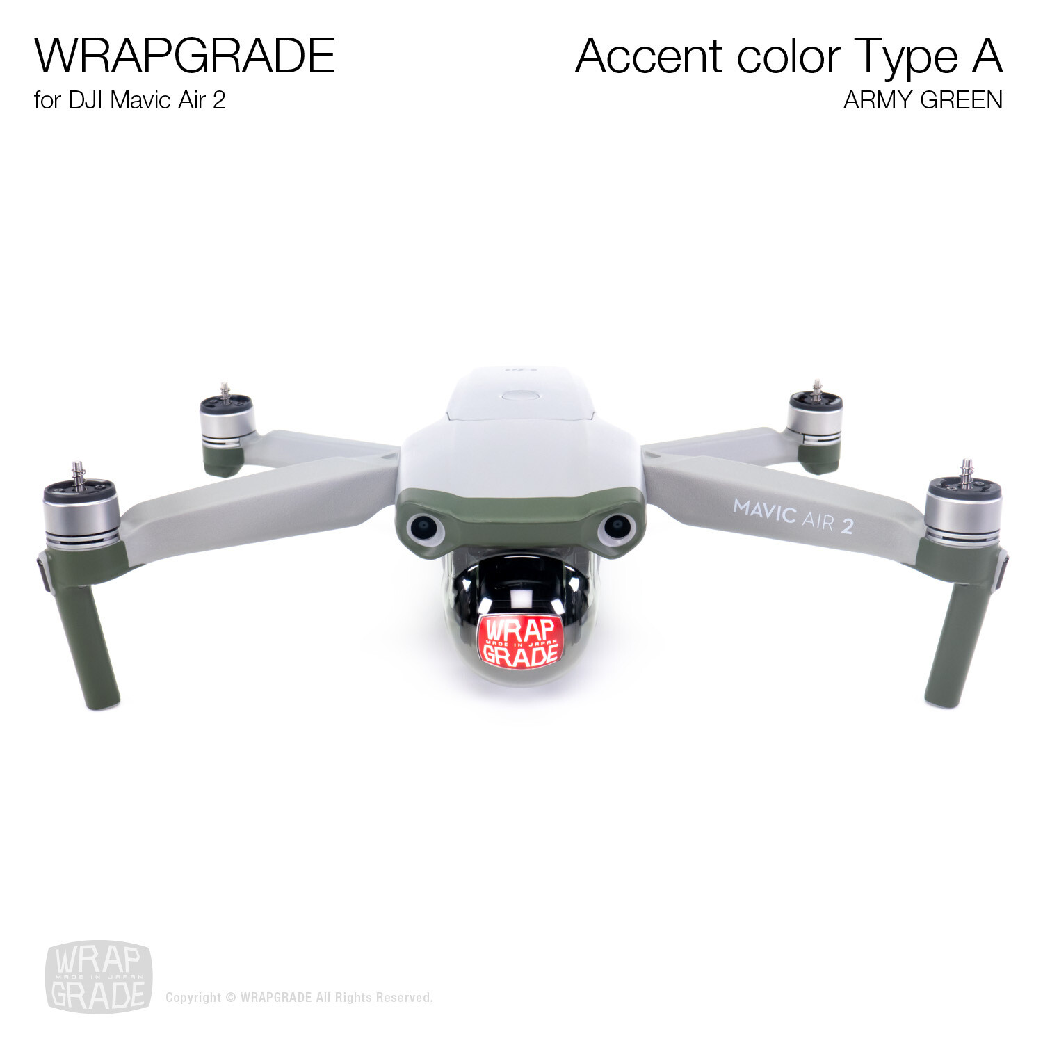 Wrapgrade for DJI Mavic Air 2 | Accent Color A (ARMY GREEN)