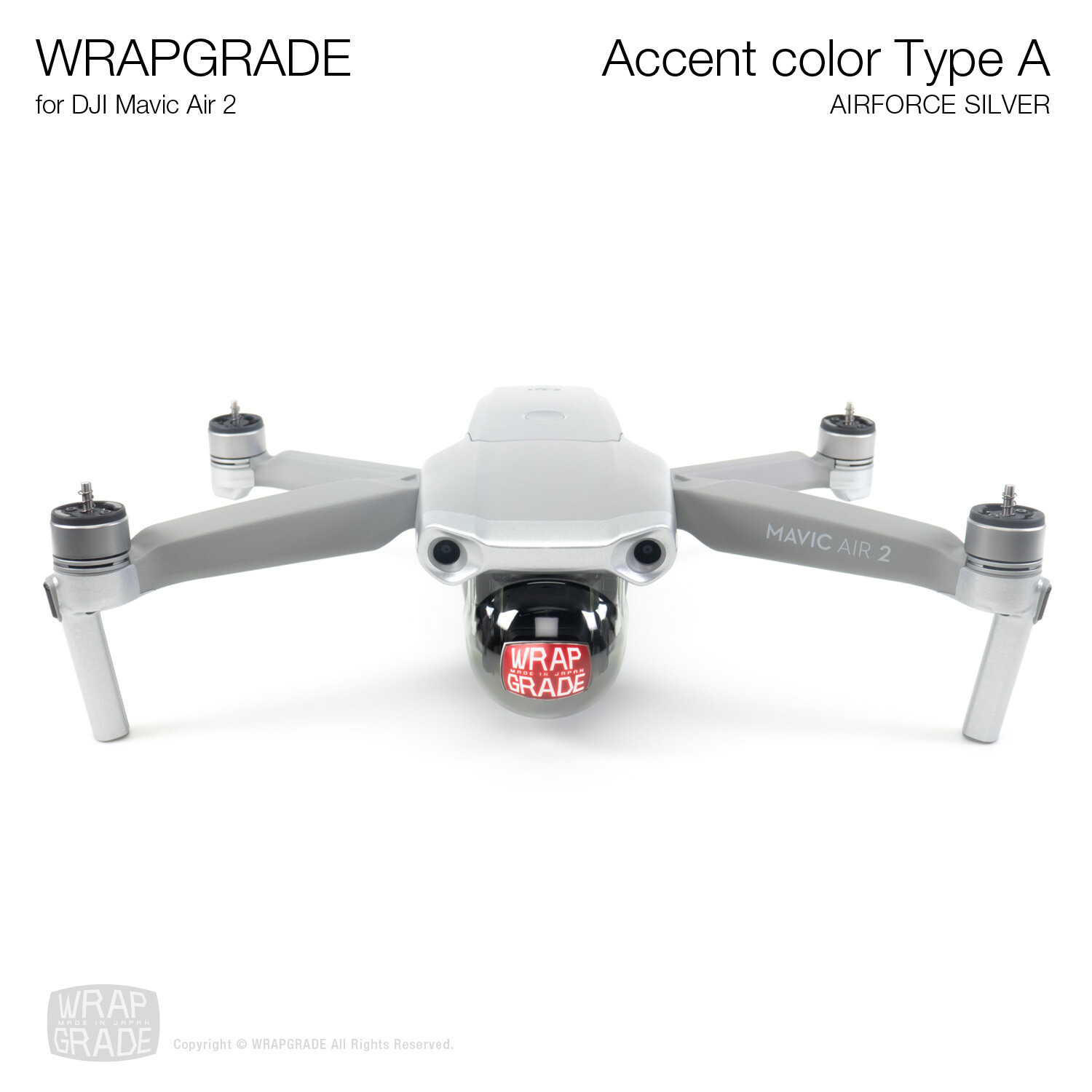 Wrapgrade for DJI Mavic Air 2   Accent Color A (AIRFORCE SILVER)