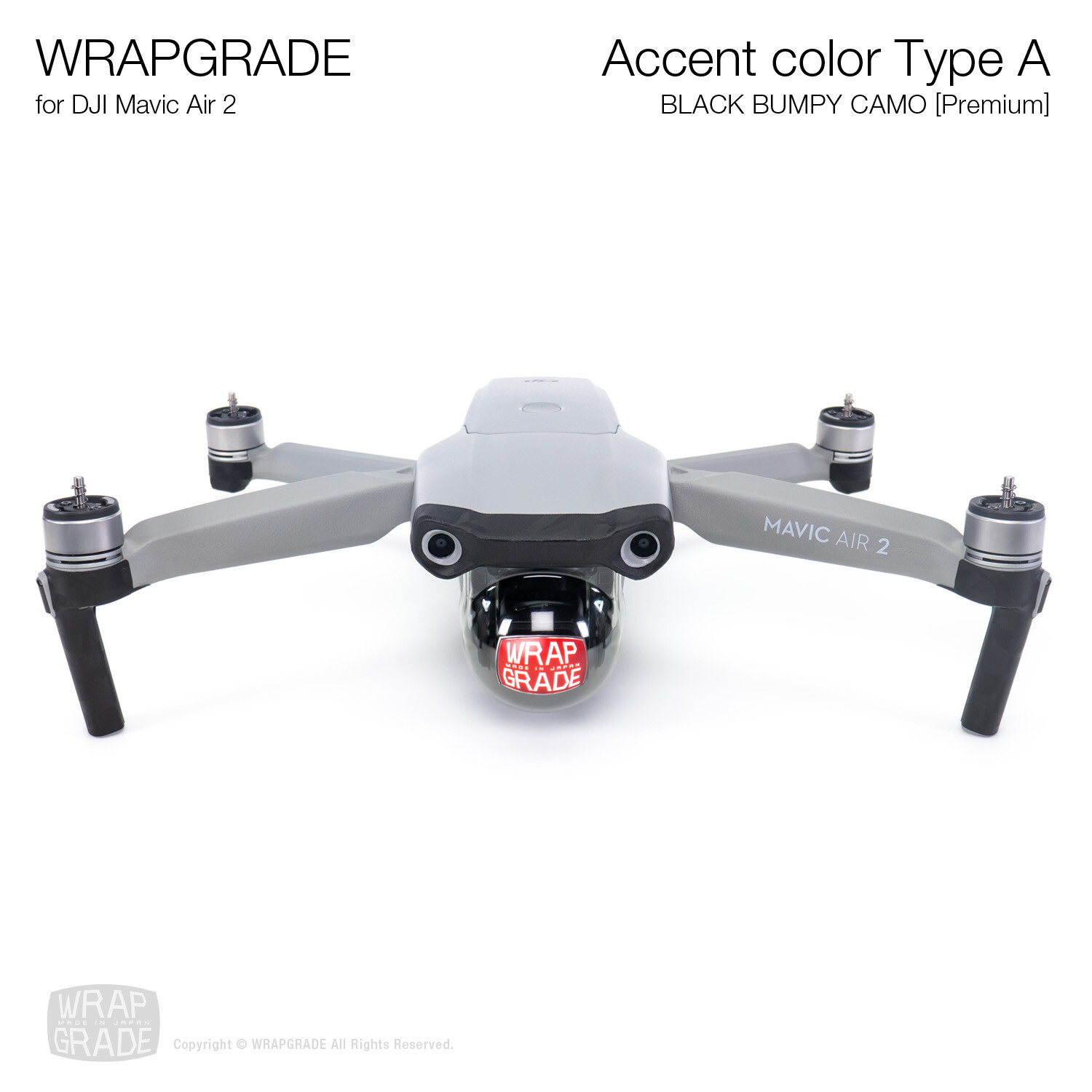 Wrapgrade for DJI Mavic Air 2 | Accent Color A (BLACK BUMPY CAMO)