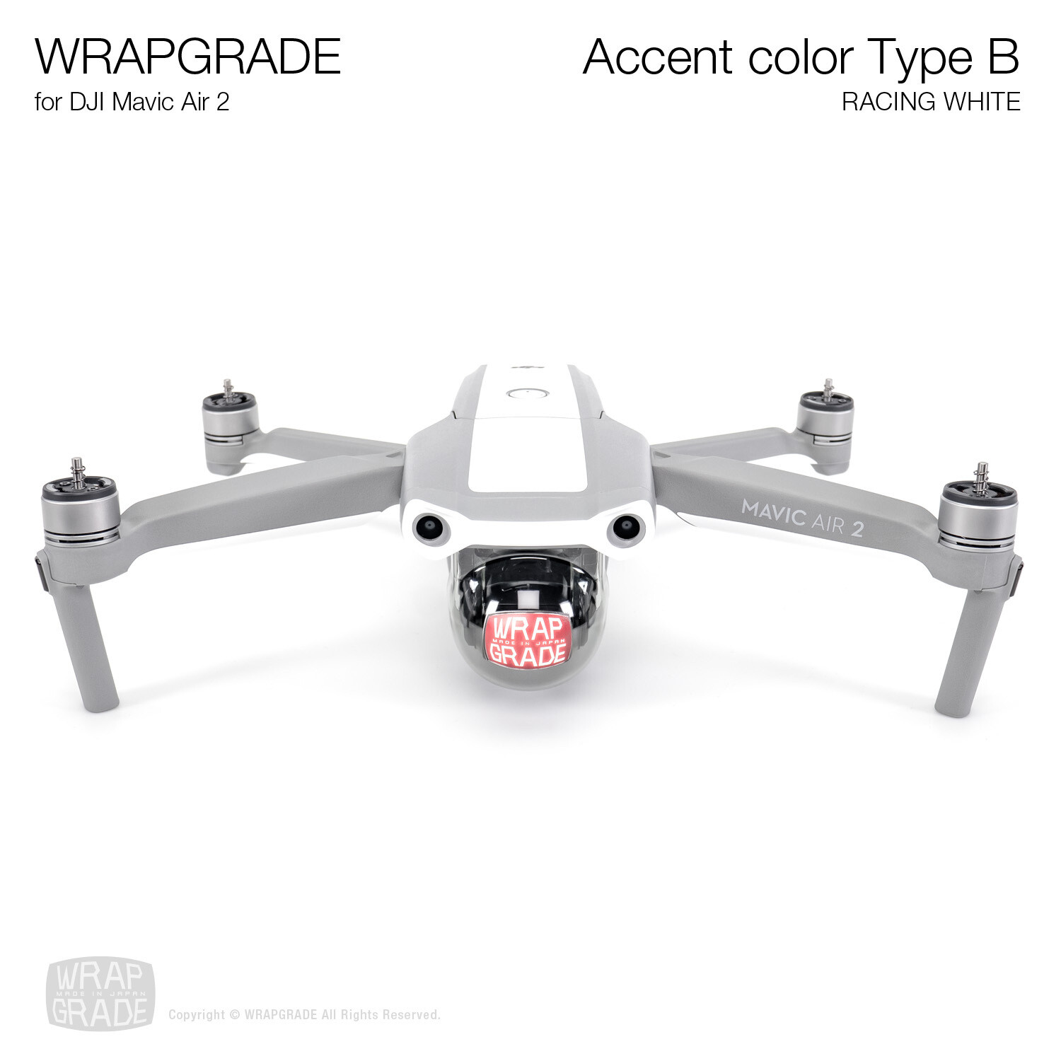 Wrapgrade for DJI Mavic Air 2 | Accent Color B (RACING WHITE)