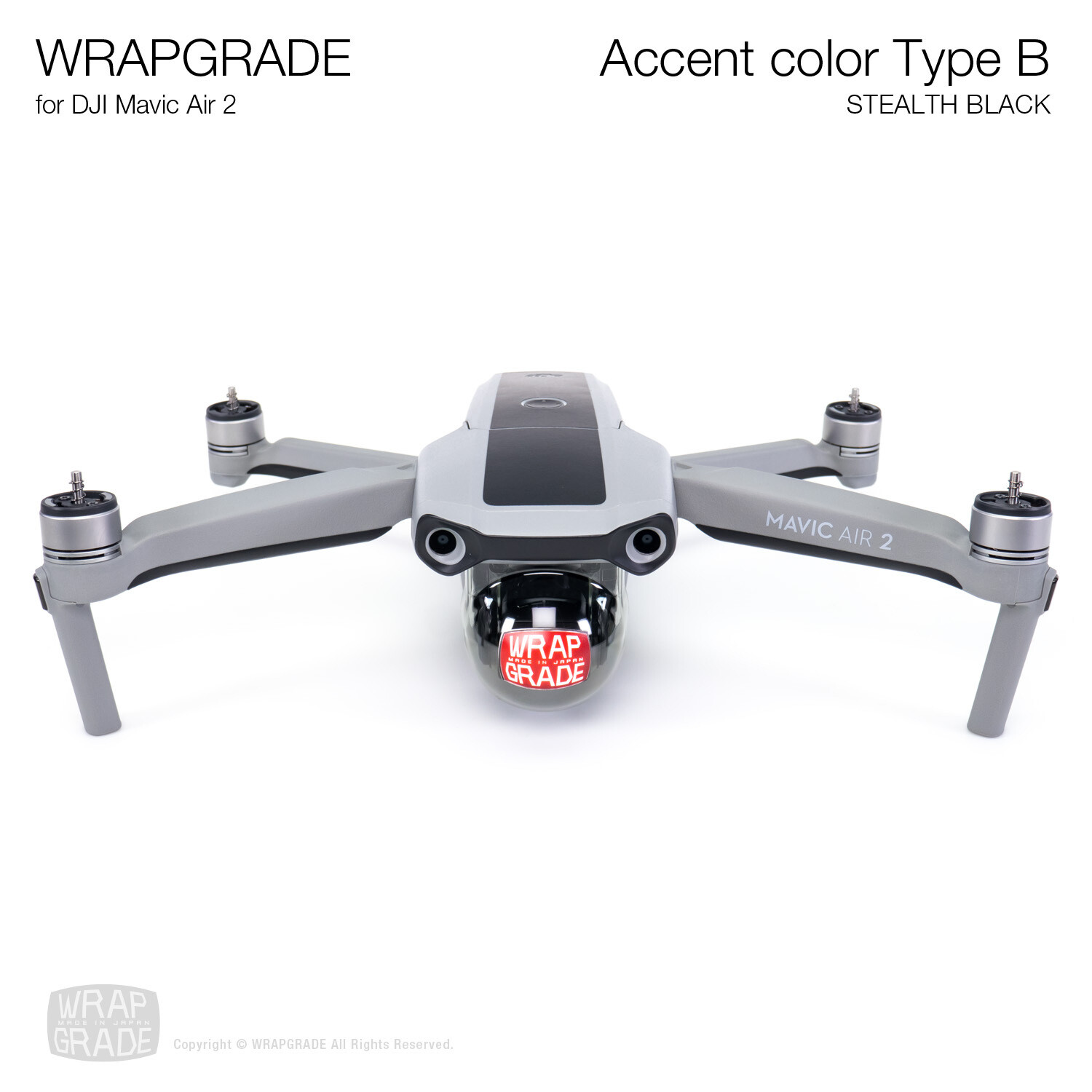 Wrapgrade for DJI Mavic Air 2 | Accent Color B (STEALTH BLACK)