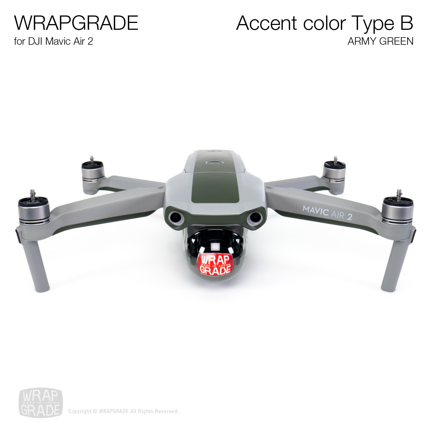 Wrapgrade for DJI Mavic Air 2 | Accent Color B (ARMY GREEN)