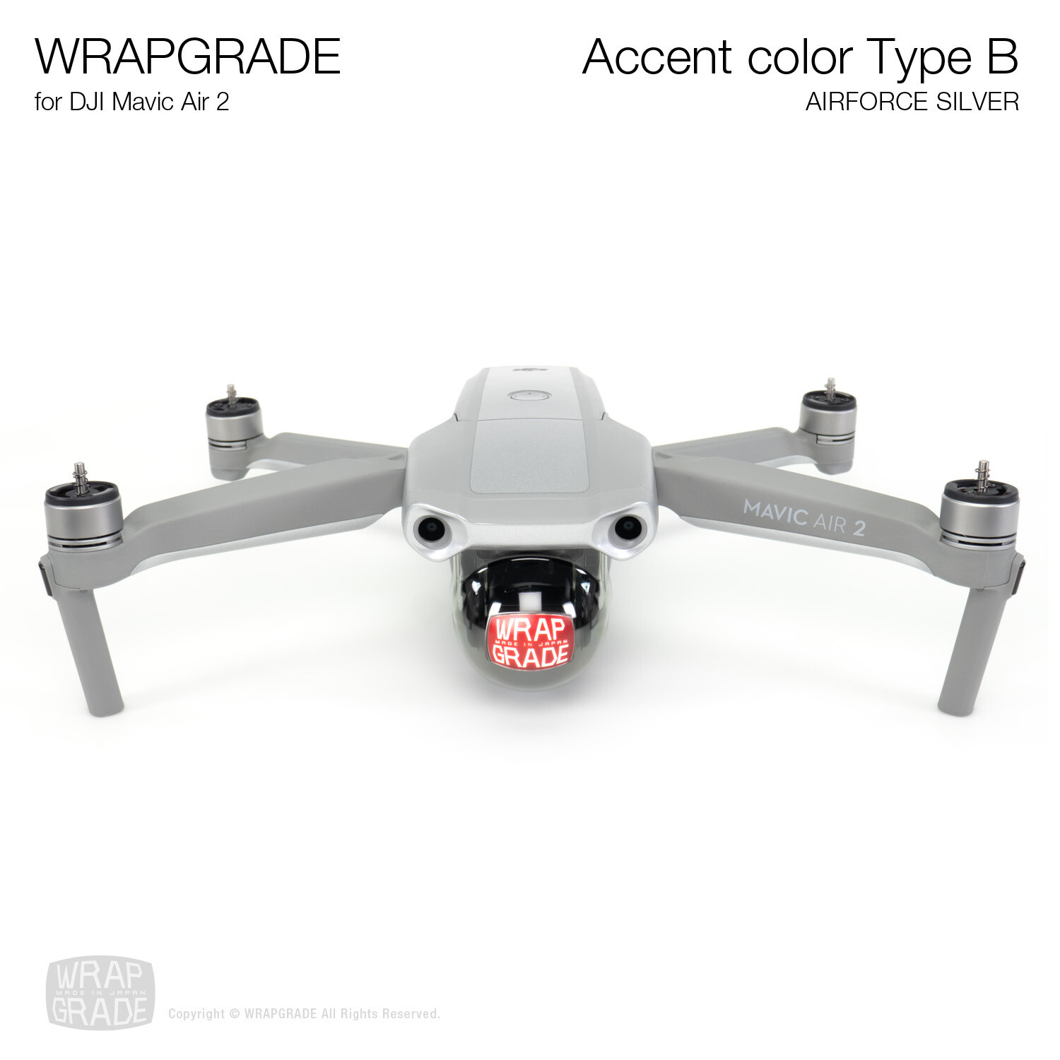 Wrapgrade for DJI Mavic Air 2 | Accent Color B (AIRFORCE SILVER)