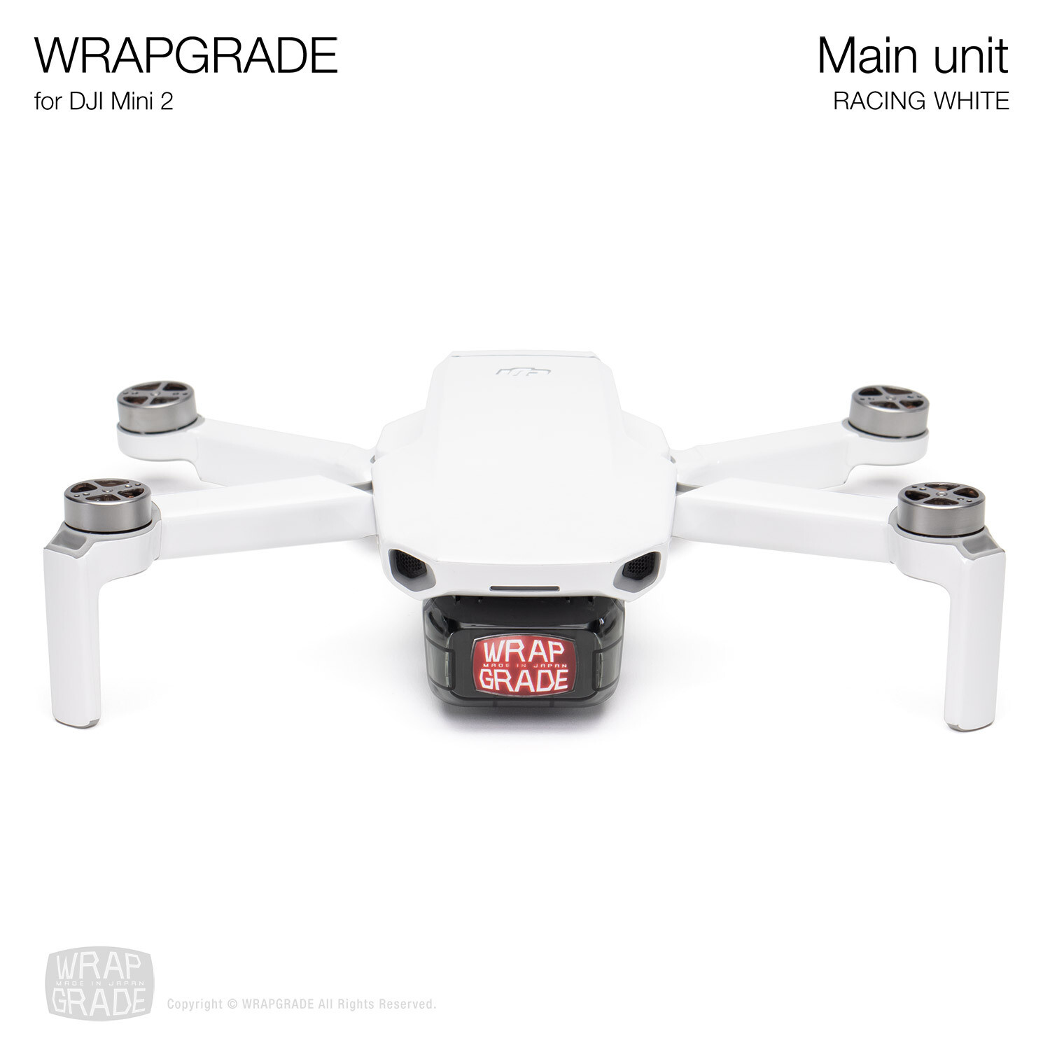 Wrapgrade Poly Skin for DJI Mini 2 | Main Unit (RACING WHITE)