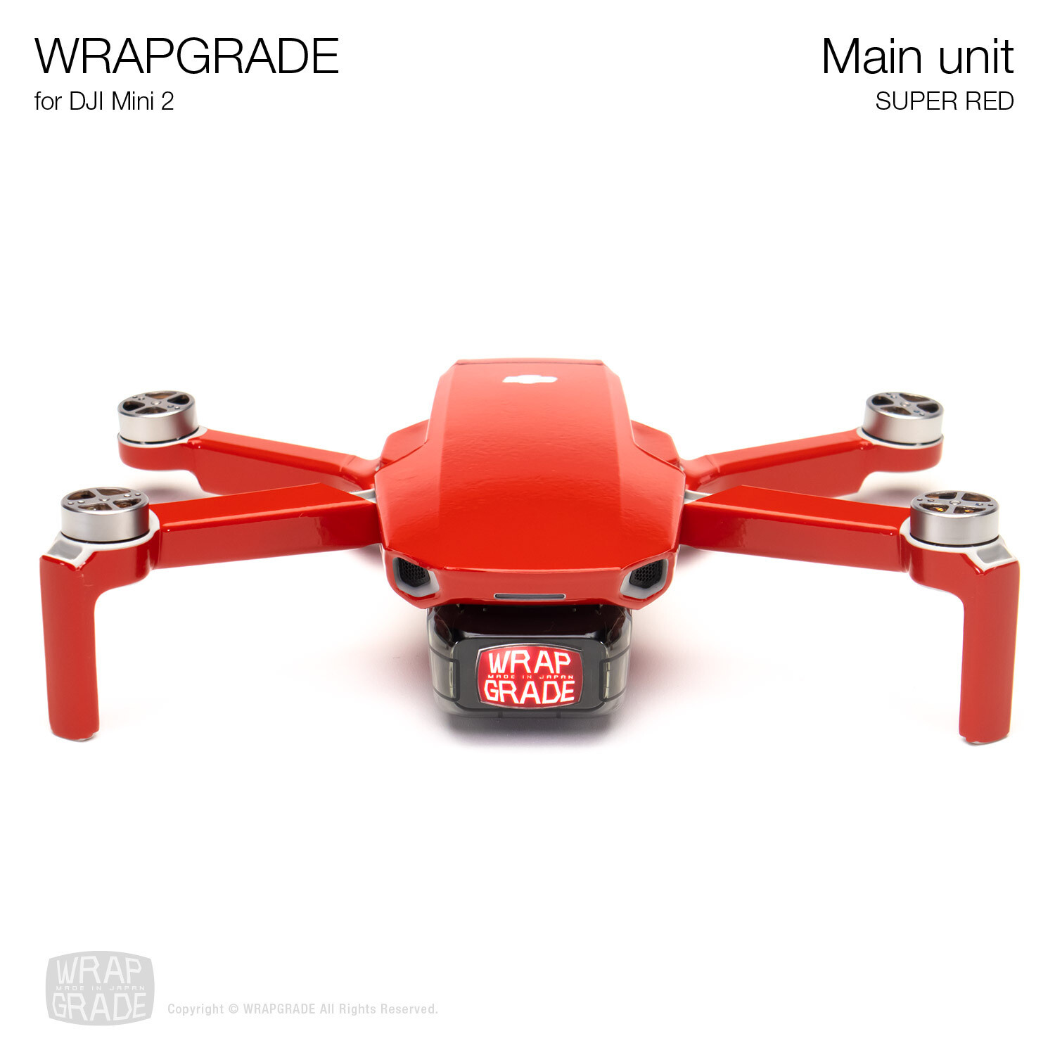 Wrapgrade Poly Skin for DJI Mini 2 | Main Unit (SUPER RED)