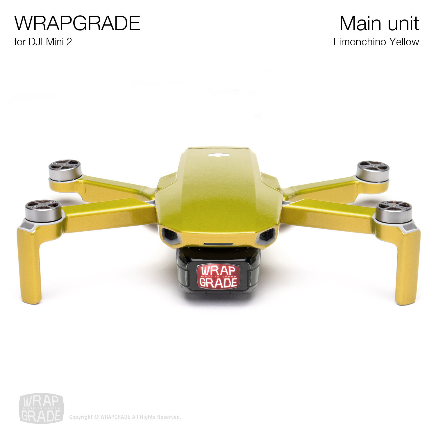 Wrapgrade Poly Skin for DJI Mini 2 | Main Unit (LIMONCINO YELLOW)