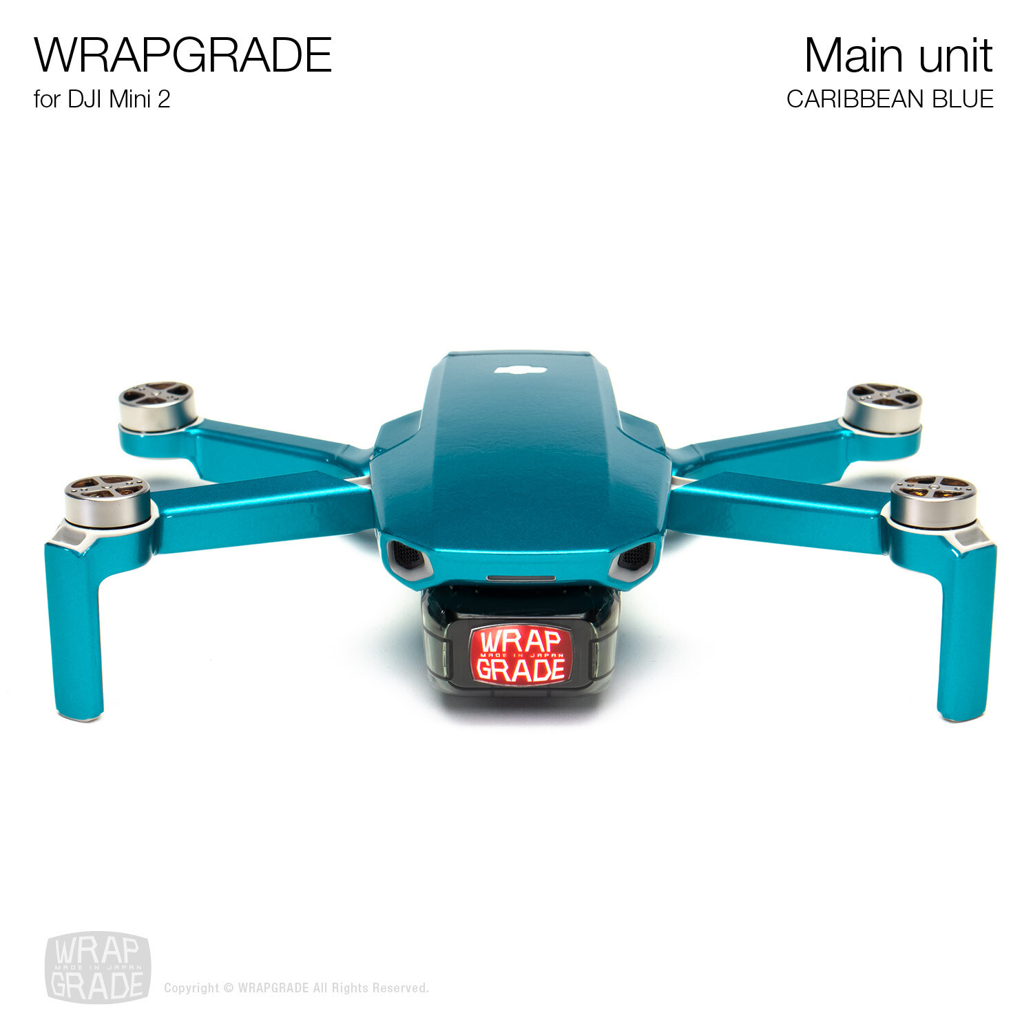 Wrapgrade Poly Skin for DJI Mini 2 | Main Unit (CARIBBEAN BLUE)