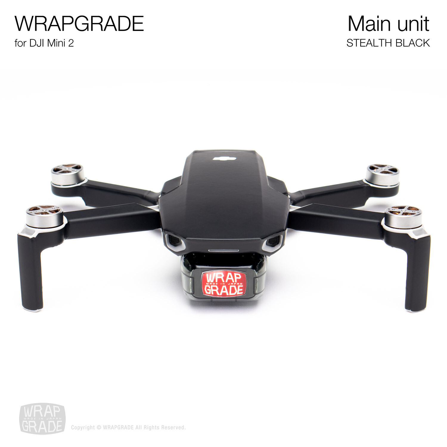 Wrapgrade Poly Skin for DJI Mini 2 | Main Unit (STEALTH BLACK)