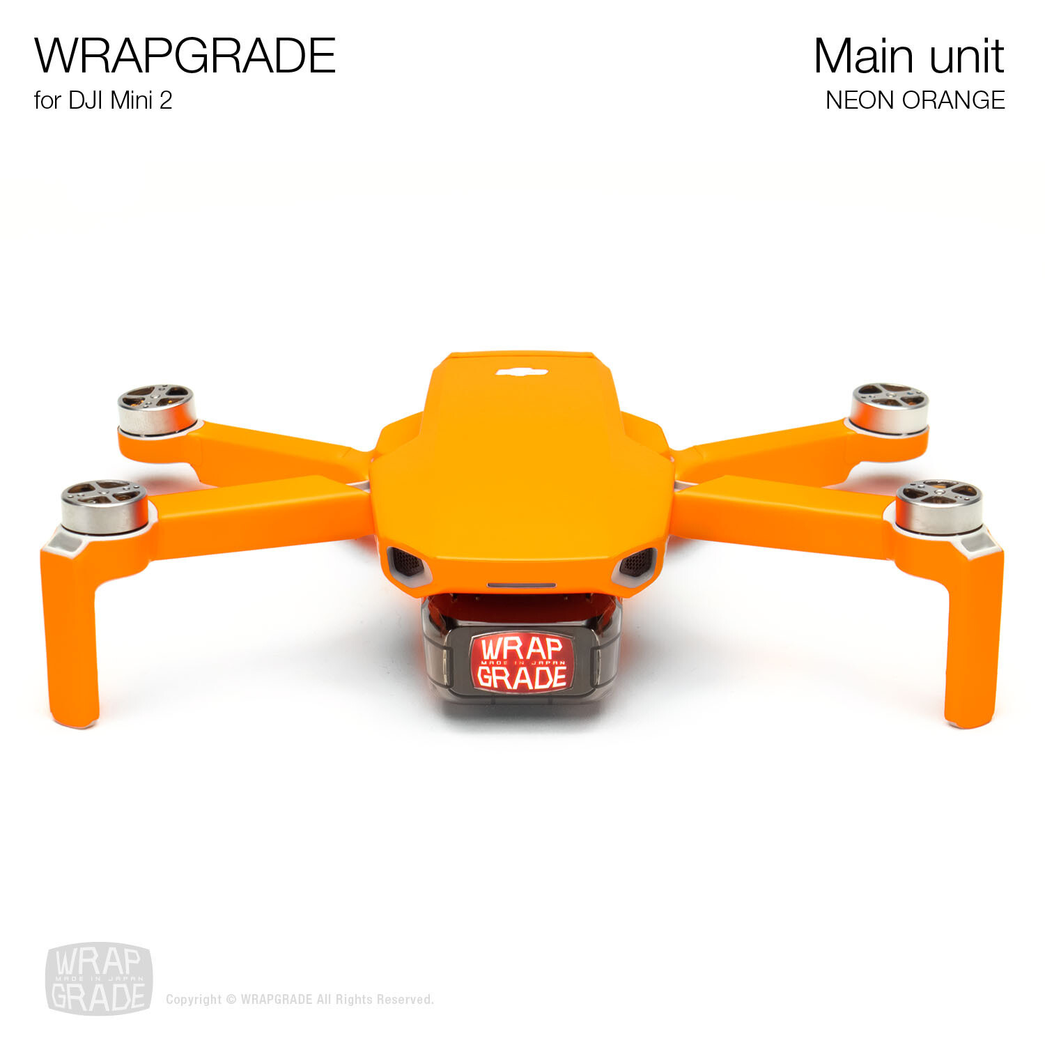 Wrapgrade Poly Skin for DJI Mini 2 | Main Unit (NEON ORANGE)