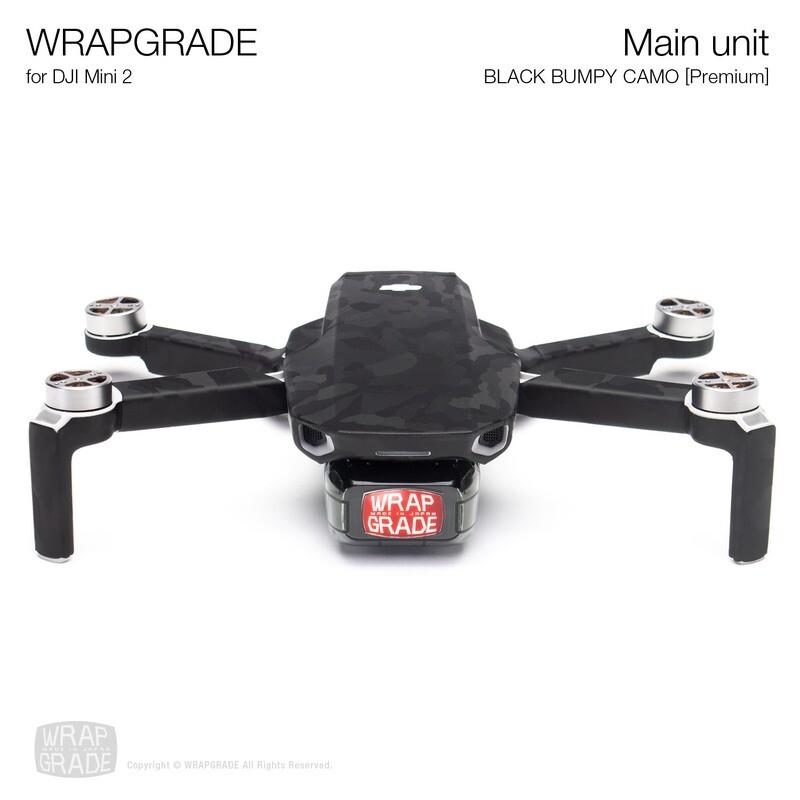 Wrapgrade Poly Skin for DJI Mini 2 | Main Unit (BLACK BUMPY CAMO)