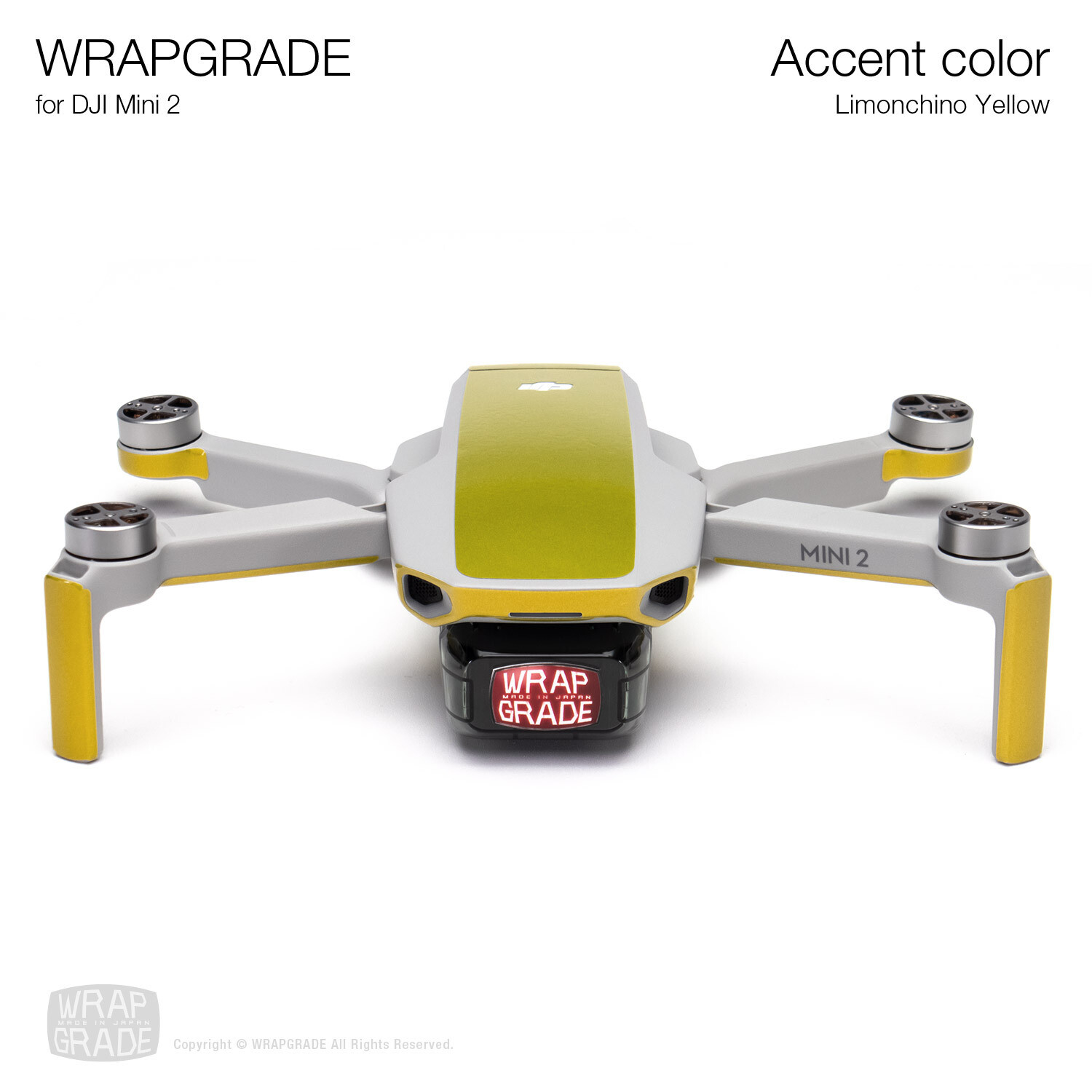 Wrapgrade Poly Skin for DJI Mini 2 | Accent color (LIMONCINO YELLOW)