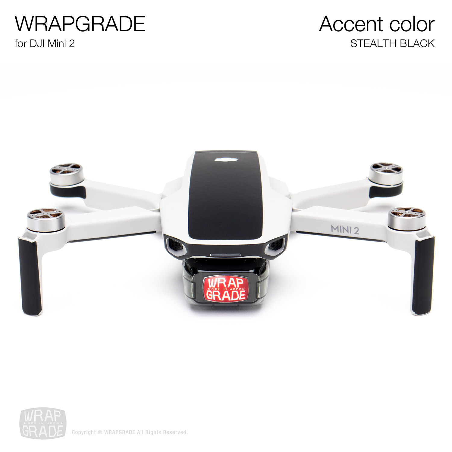 Wrapgrade Poly Skin for DJI Mini 2 | Accent color (STEALTH BLACK)