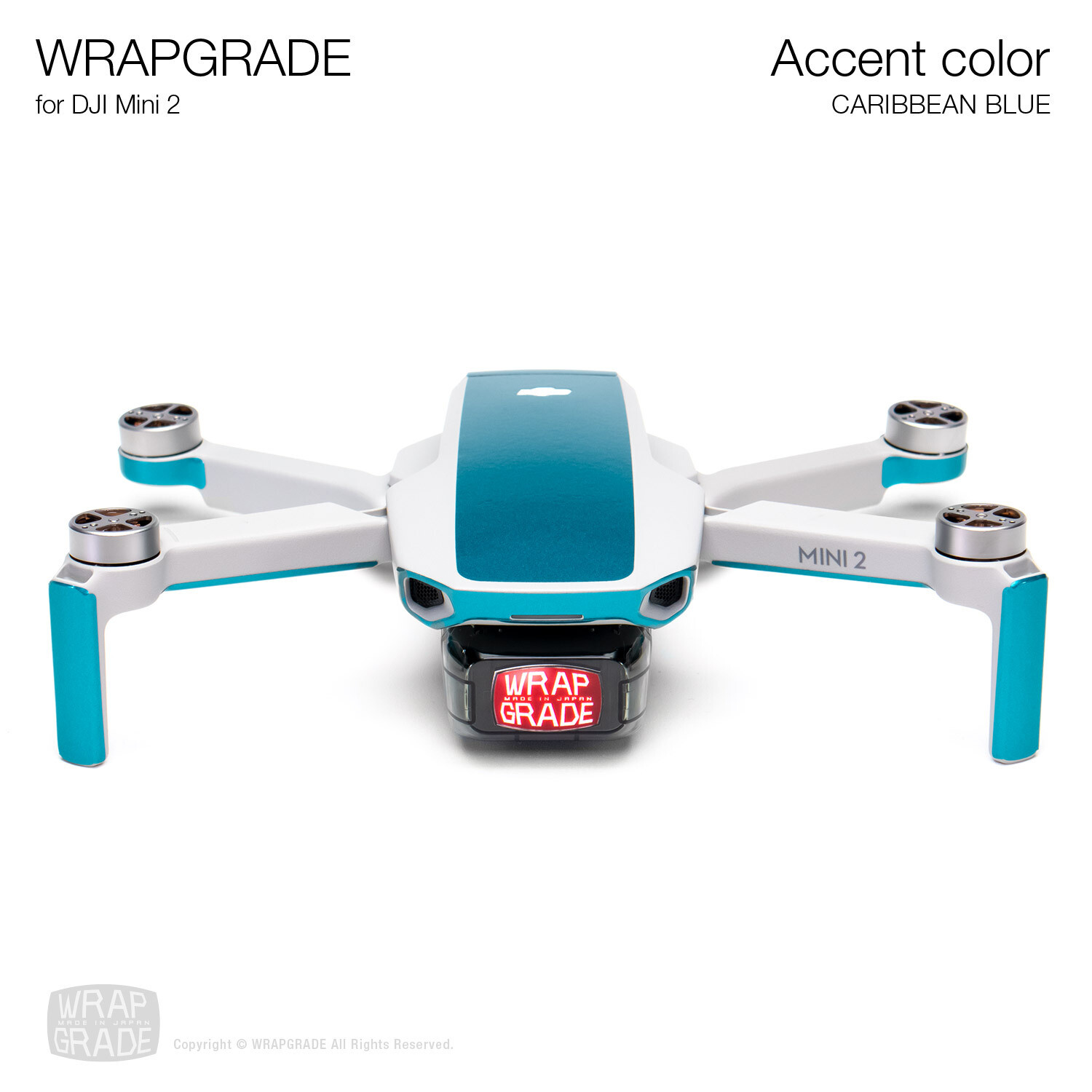 Wrapgrade Poly Skin for DJI Mini 2 | Accent color (CARIBBEAN BLUE)