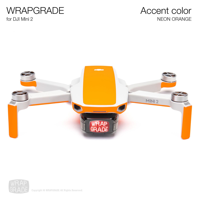 Wrapgrade Poly Skin for DJI Mini 2 | Accent color (NEON ORANGE)