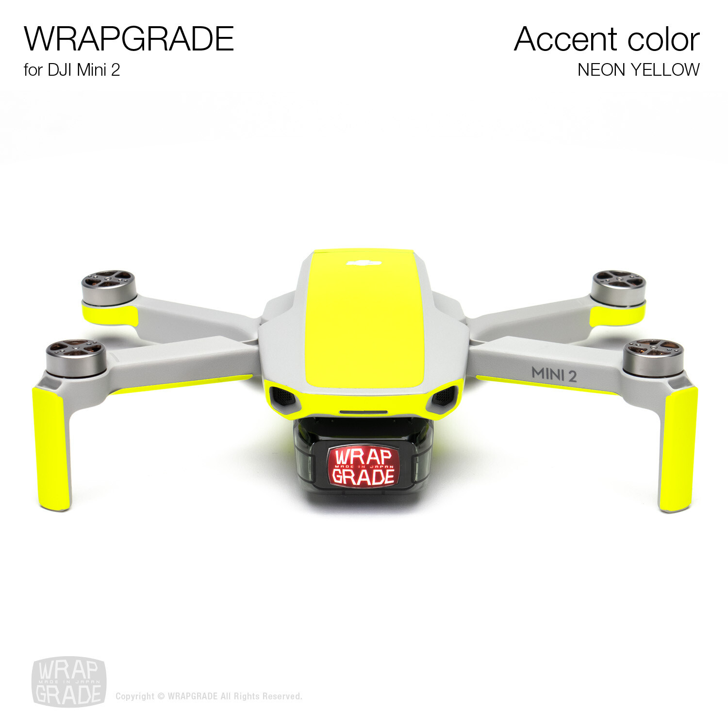 Wrapgrade Poly Skin for DJI Mini 2 | Accent color (NEON YELLOW)
