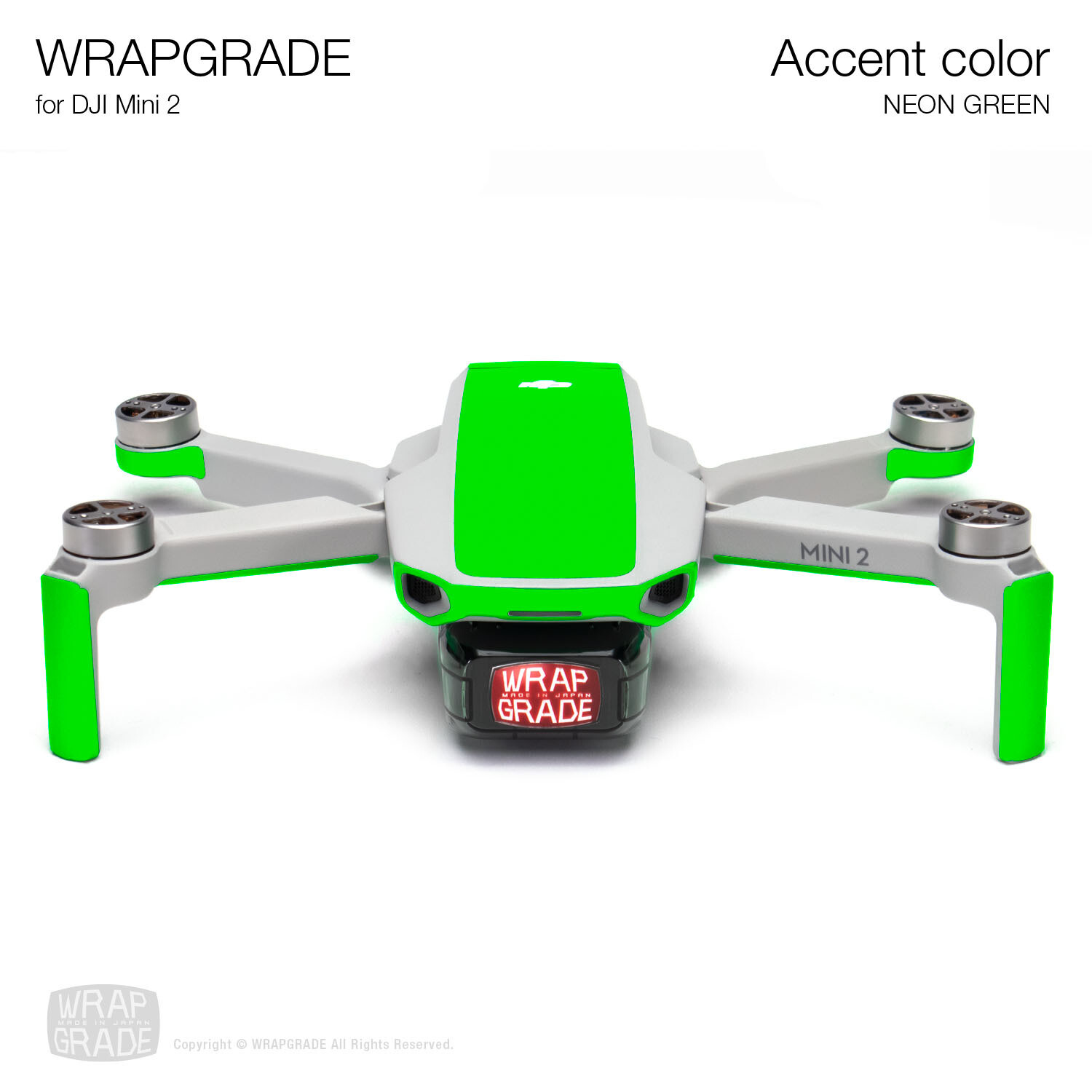 Wrapgrade Poly Skin for DJI Mini 2 | Accent color (NEON GREEN)