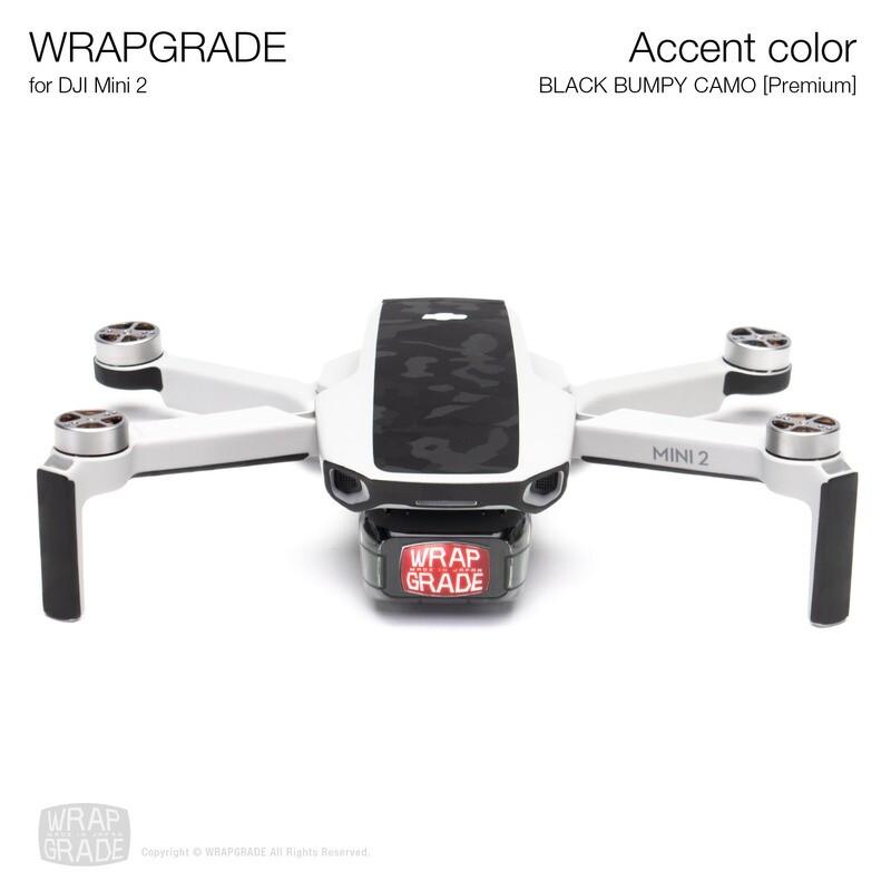 Wrapgrade Poly Skin for DJI Mini 2 | Accent color (BLACK BUMPY CAMO)