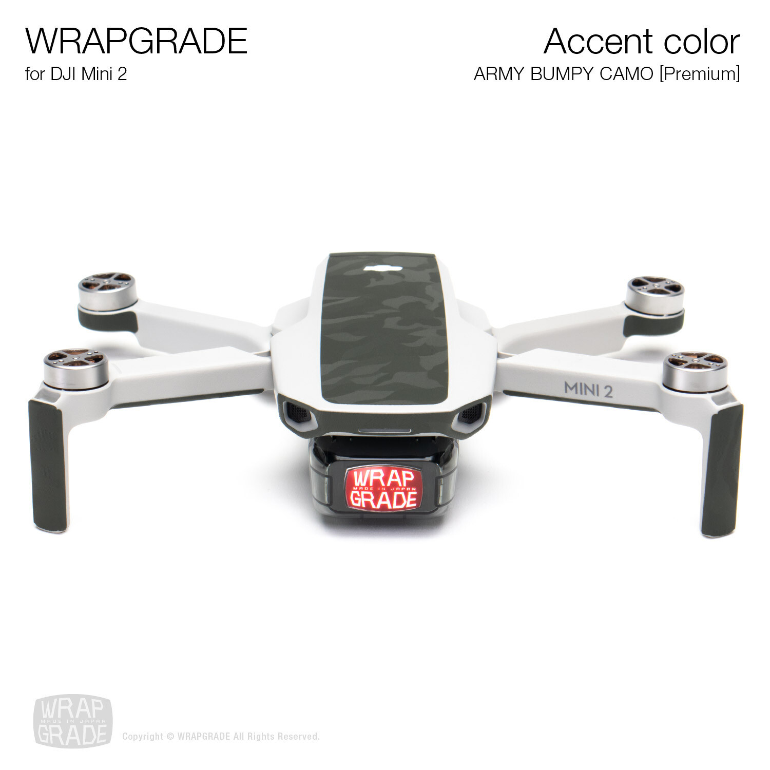 Wrapgrade Poly Skin for DJI Mini 2 | Accent color (ARMY BUMPY CAMO)