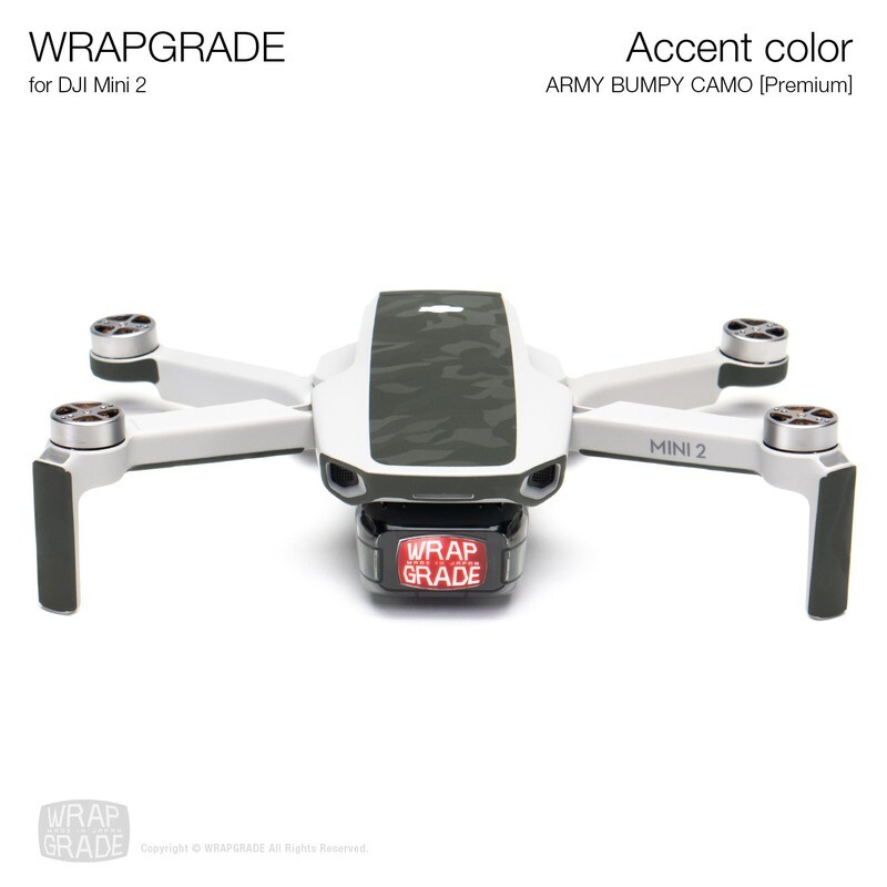 Wrapgrade Poly Skin for DJI Mini 2 | Accent color (ARMY BUMPY CAMO)