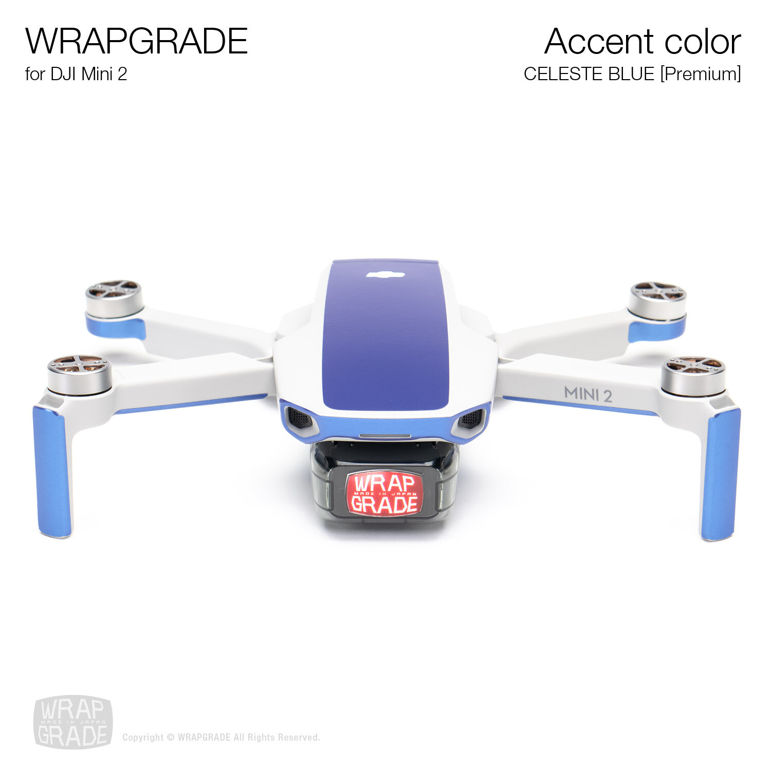 Wrapgrade Poly Skin for DJI Mini 2 | Accent color (CELESTE BLUE)