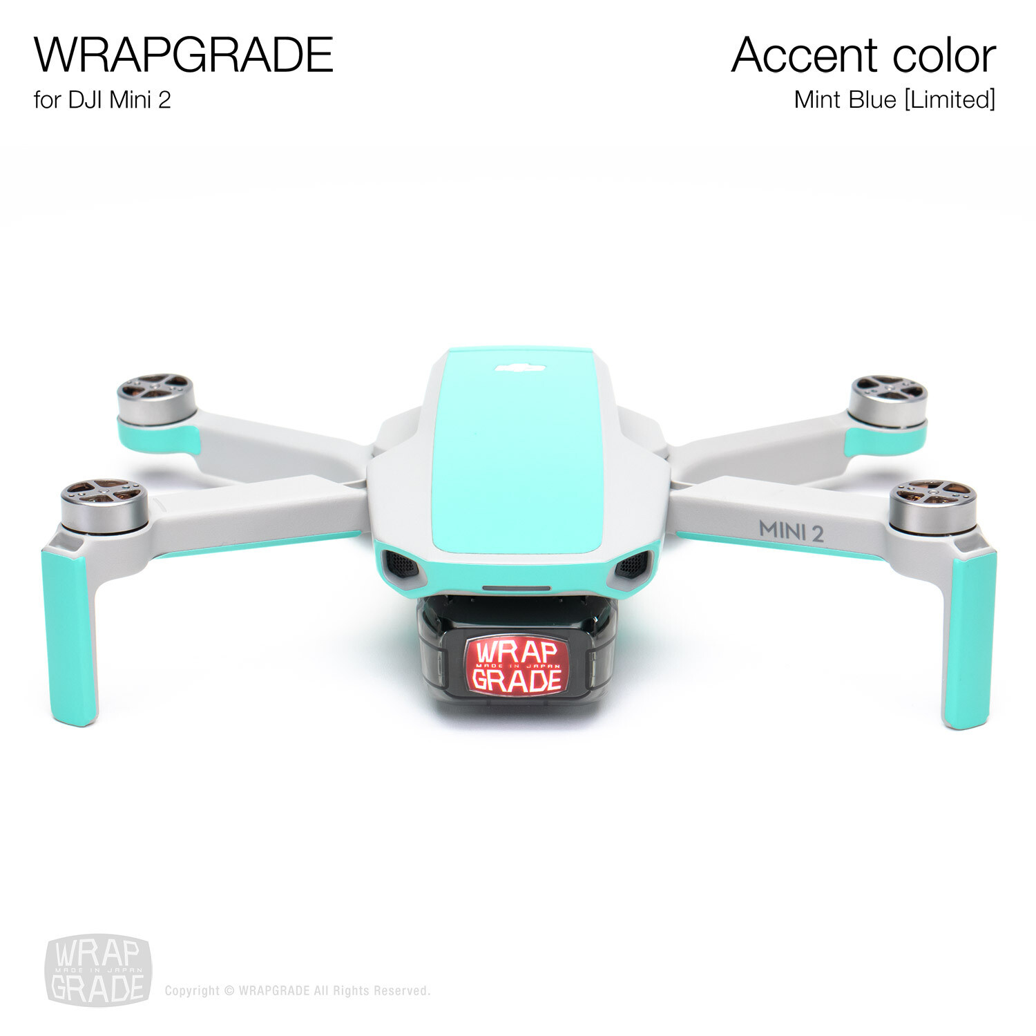 Wrapgrade Poly Skin for DJI Mini 2 | Accent color (MINT BLUE)
