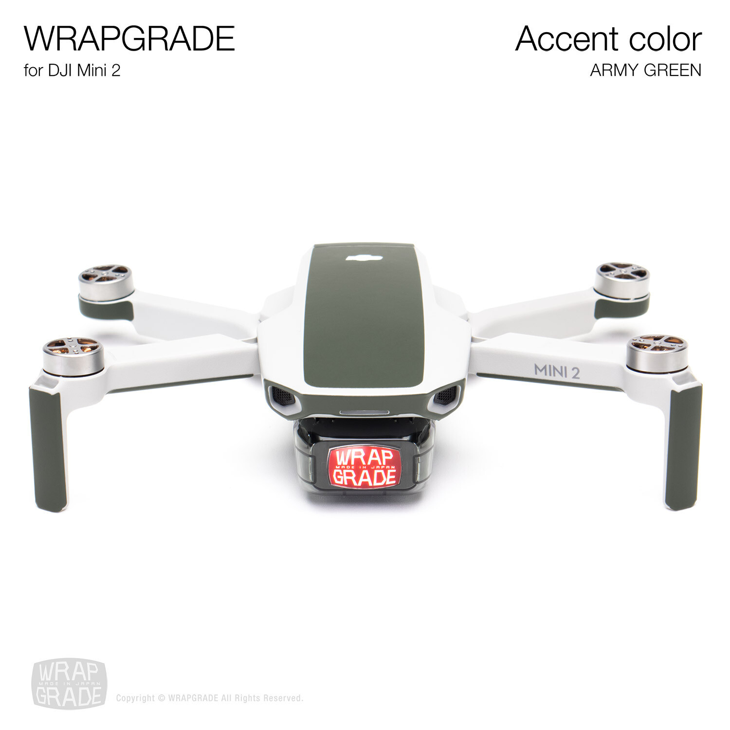 Wrapgrade Poly Skin for DJI Mini 2 | Accent color (ARMY GREEN)