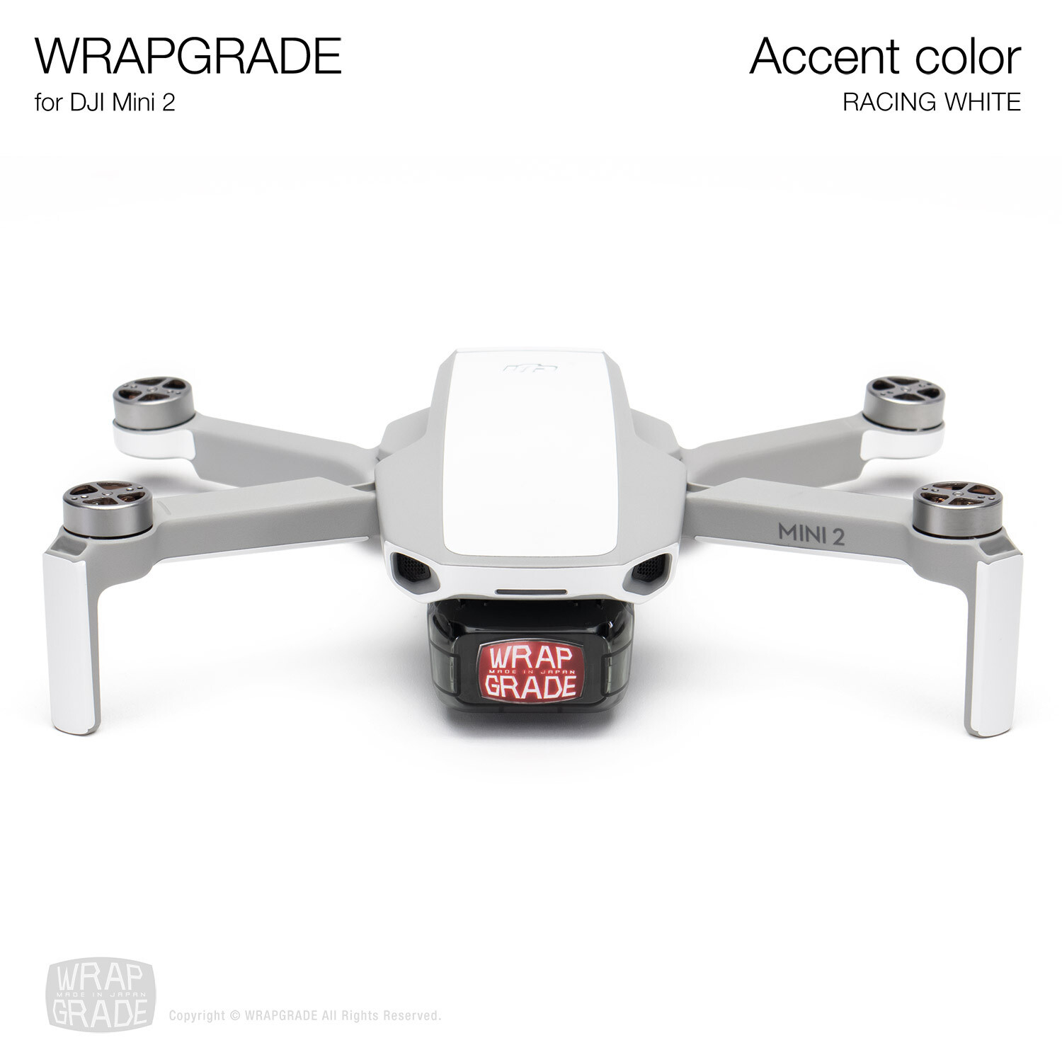 Wrapgrade Poly Skin for DJI Mini 2 | Accent color (RACING WHITE)