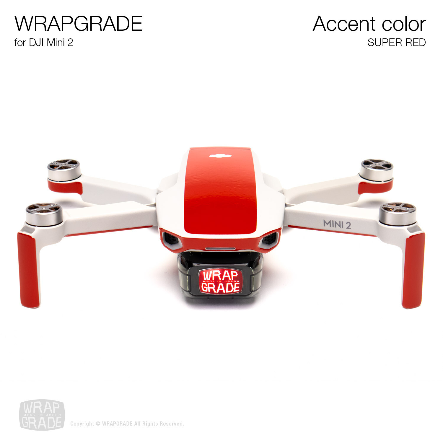 Wrapgrade Poly Skin for DJI Mini 2 | Accent color (SUPER RED)