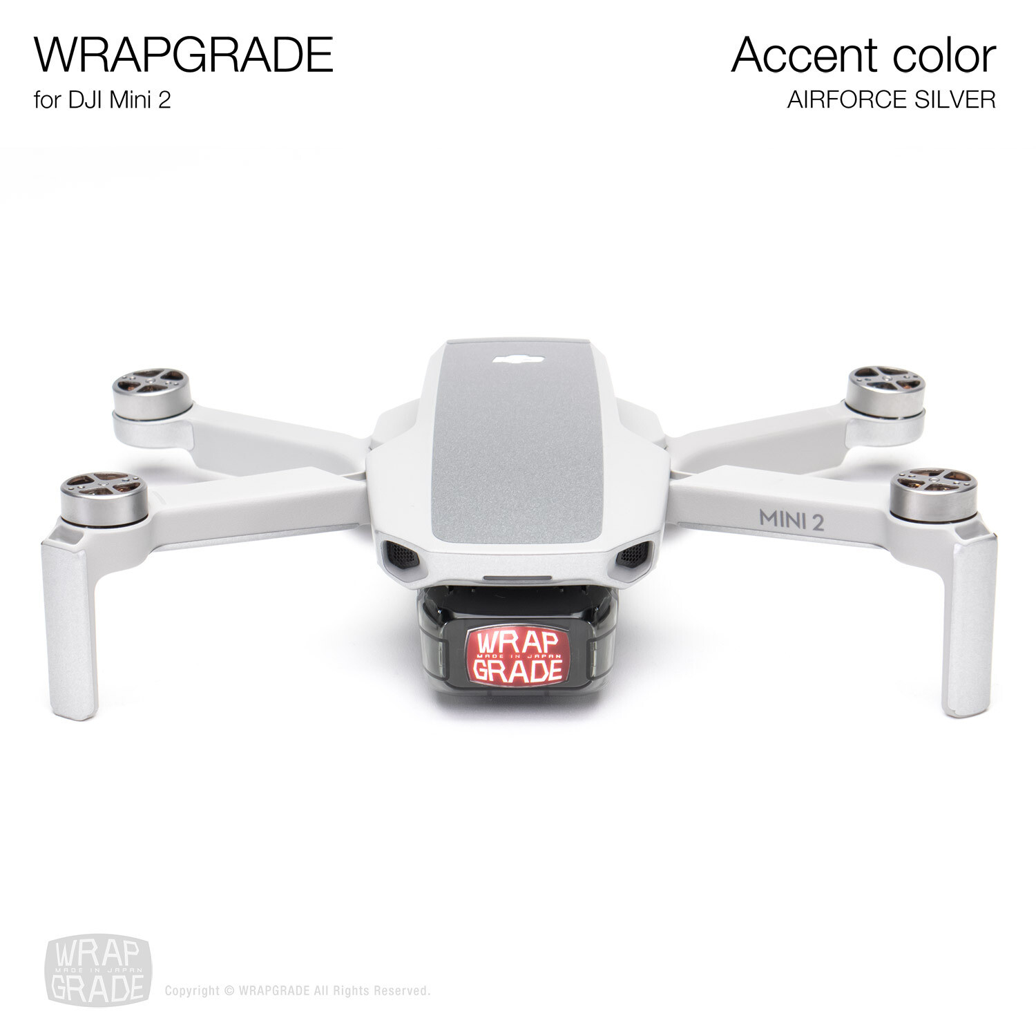 Wrapgrade Poly Skin for DJI Mini 2 | Accent color (AIRFORCE SILVER)