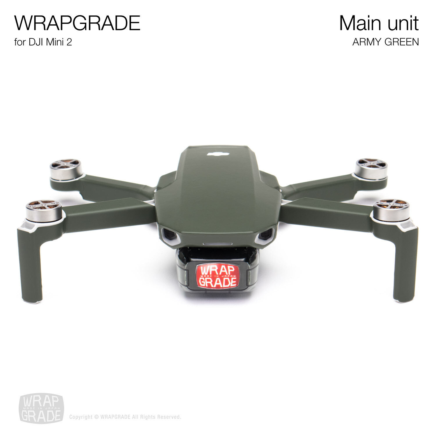Wrapgrade Poly Skin for DJI Mini 2 | Main Unit (ARMY GREEN)
