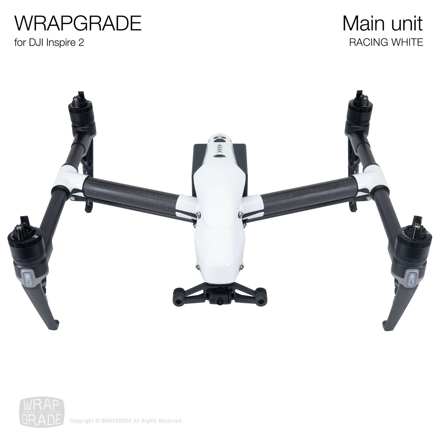 WRAPGRADE for DJI Inspire 2 | Main Unit (RACING WHITE)