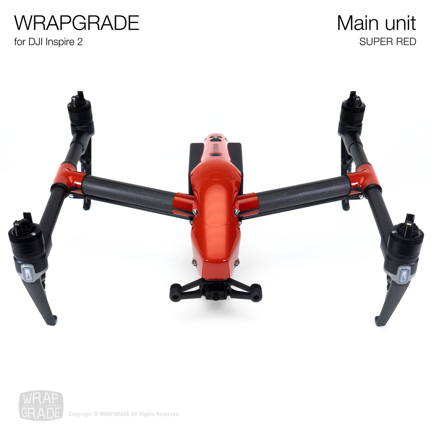 WRAPGRADE for DJI Inspire 2   Main Unit (SUPER RED)