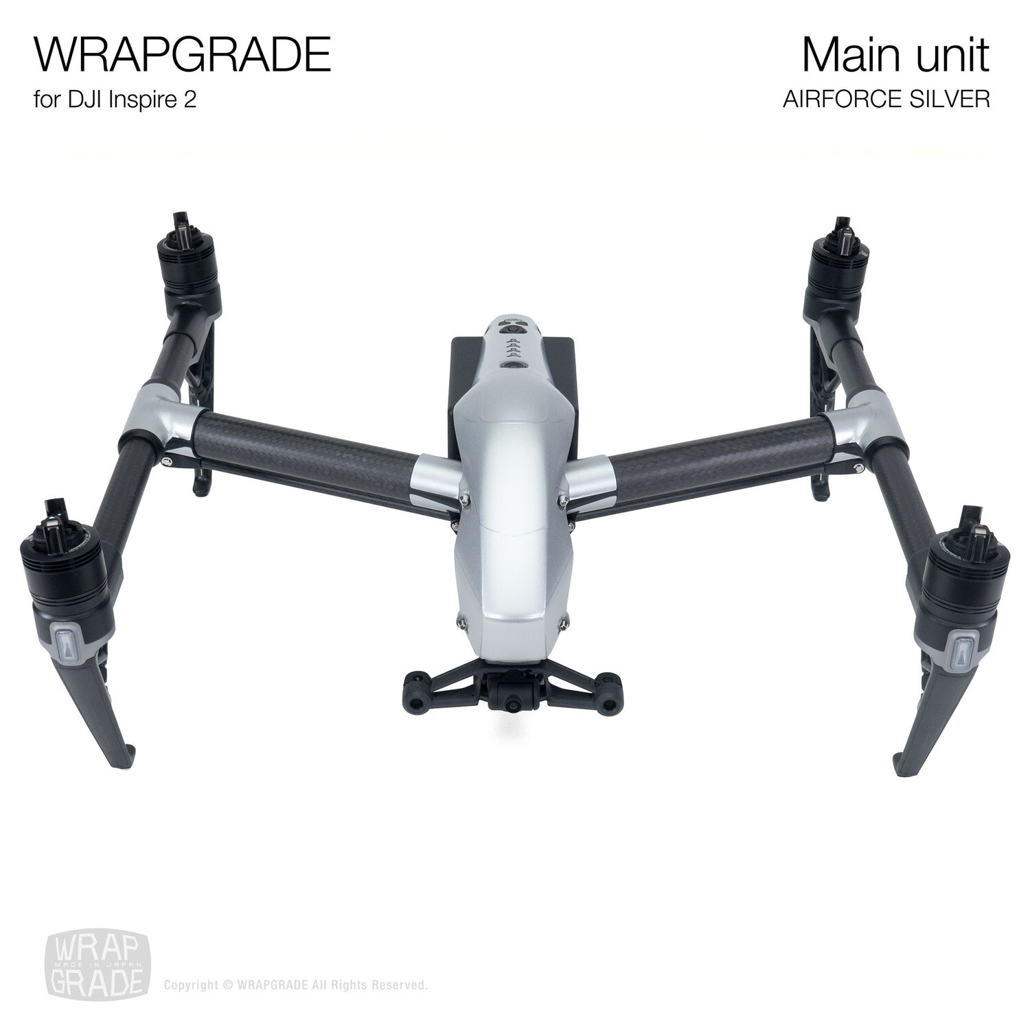 WRAPGRADE for DJI Inspire 2 | Main Unit (AIRFORCE SILVER)