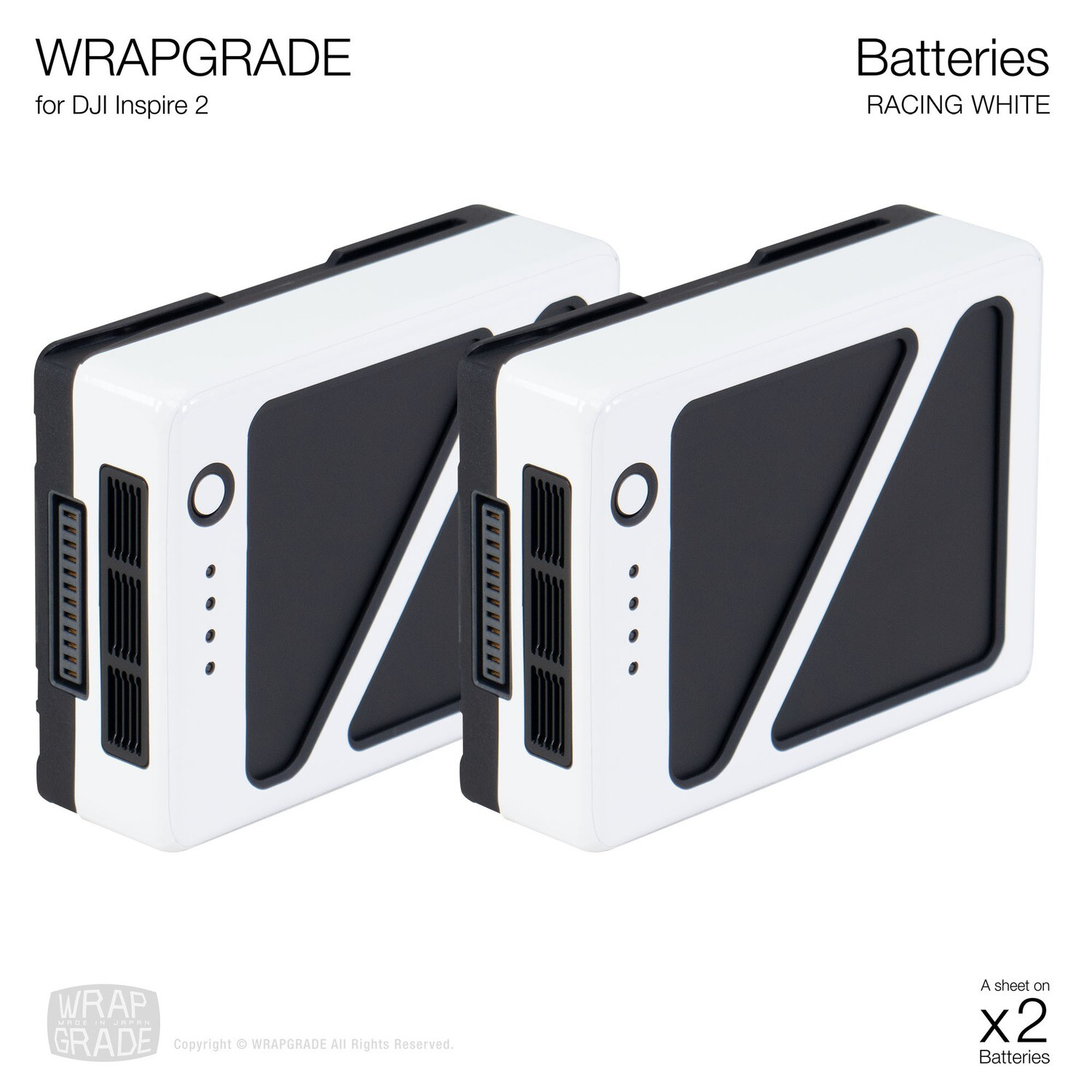 WRAPGRADE for DJI Inspire 2 | Two batteries [20 colors]